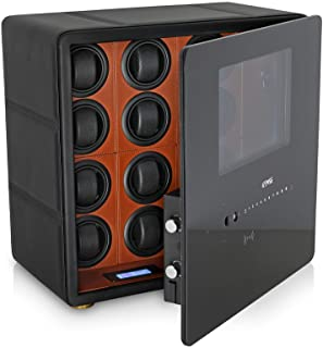 Watch Winder Safe Box for 12 Automatic Watches with Digital Lock, Alarm Option and Interior Backlight