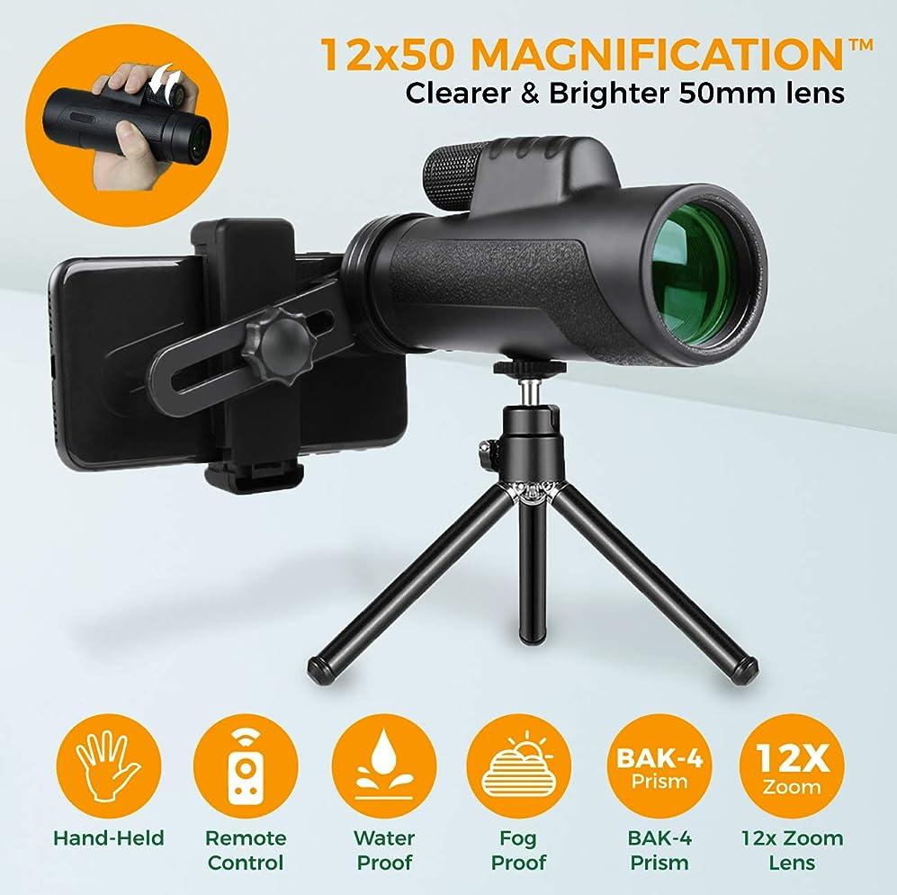 貧困ダニゴミ箱Aigen 12X50 ハイパワー単眼鏡 スマートフォン用 三脚&電話シャッターリモートコントロール付き 窒素充填 防水 曇り止め BAK-4プリズム FMC レンズ 片手フォーカスコンパクトズーム高解像度