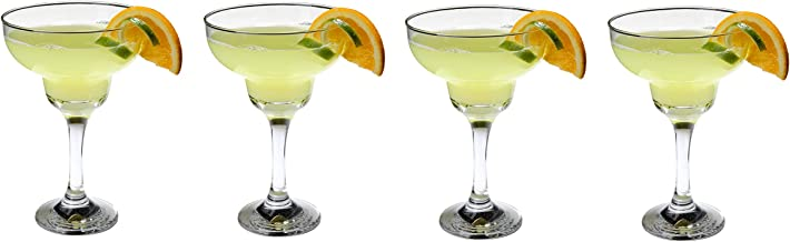 Epure Milano Collection 4 Piece Margarita Glass Set - Classic For Drinking Margaritas, Pina Coladas, Daiquiris, and Other ...