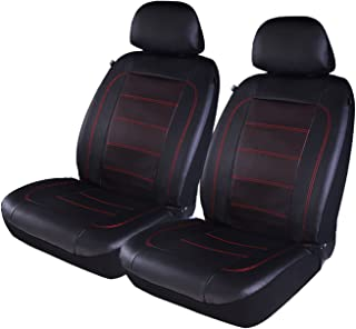 PIC AUTO Luxury Car Seat Covers, Front Seat Only, Double Layered Perforated PU Leather, Heavy Duty, Split Bench, Fit Most Cars, SUVs and Vans Low Back(4PCS) (Red)