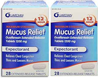 Guardian Mucus Relief 12 Hour Extended Release, 1200mg 56ct Maximum Strength Guaifenesin, Chest Congestion Relief, Expectorant Tablets (28ct x 2) Twin Pack