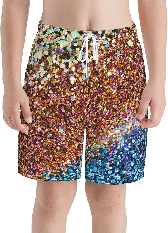 KAETZRU Boys Swim Trunks Beach Board Shorts Red Blue Gold Glitter Golden Shiny Sequin Teens Casual 3D Swimsuit
