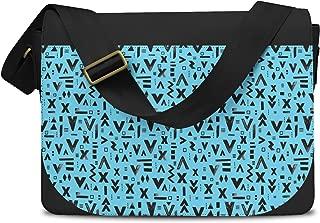 Inked Geometric Symbols Blue - One Size Messenger Bag - Messenger Bag