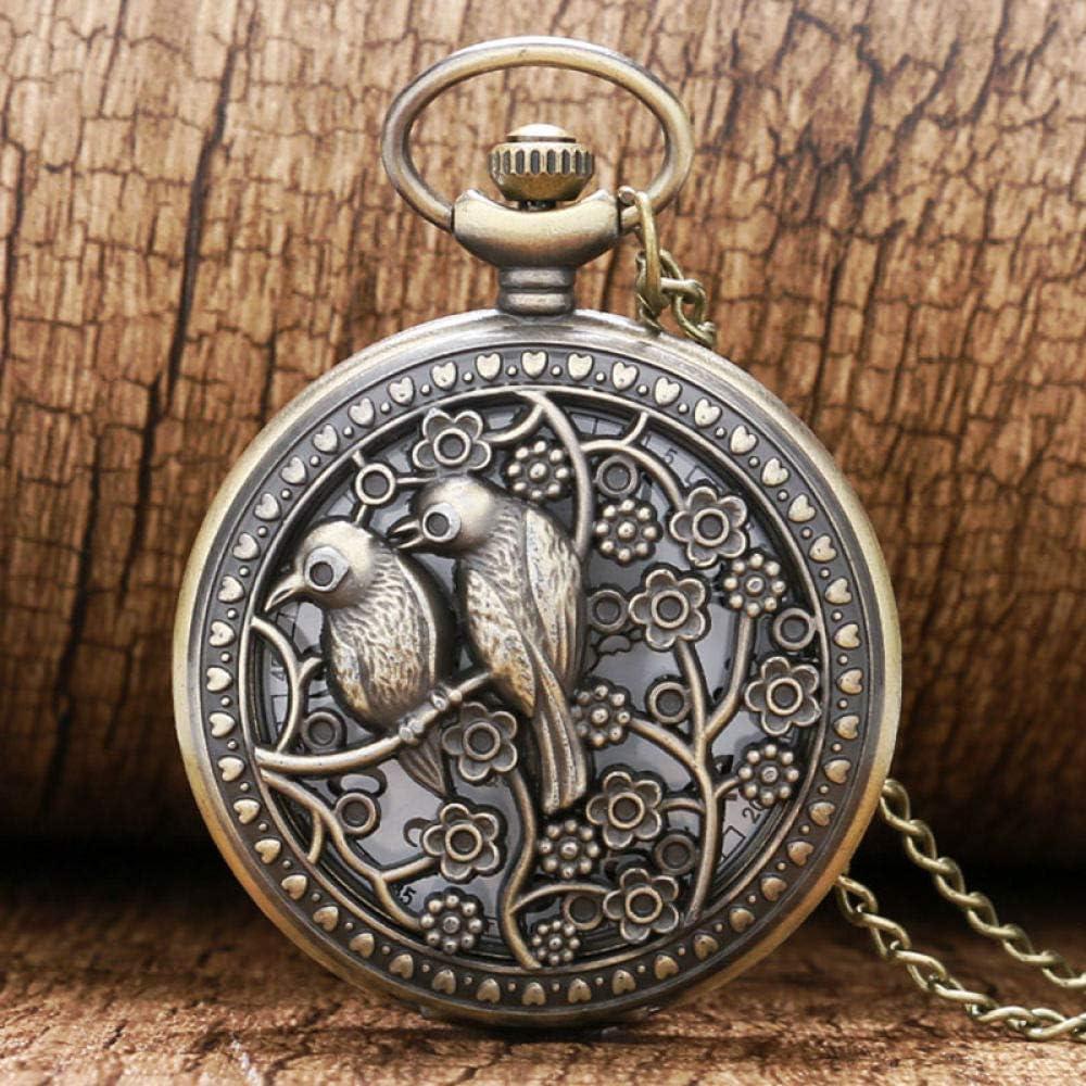 STEDMNY Reloj de Bolsillo Bronce Lovely Bird Hollow Quartz Pocket Watch Retro Vintage Collar Colgante Fob Relojes para Mujeres Mejor Regalo