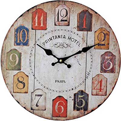 Vintage Wall Clock/Wooden Pastoral Color Digital Clock/Mute No Ticking/Battery Powered