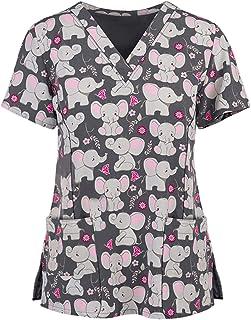 PJQQ Scrubs Uniforms Women,Women's Healthcare Tunic Uniform, Short Sleeve Tops Nursing Working Uniform Set Suit, Workwear,...