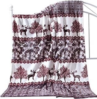 SearchI Christmas Flannel Fleece Throw Blanket, Velvet Touch Soft Plush Fuzzy Comfort Christmas Holiday Reindeer Elk Printed Decorative Microfiber Fleece Bedding Blanket for Sofa Bed Couch, 59