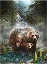 Hoffman Fabrics Call Of The Wild 24'' Bear & Cubs Panel Digital Fabric, Grizzly