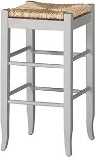 Boraam Square Rush Seat Bar Height Stool, 29-Inch, White