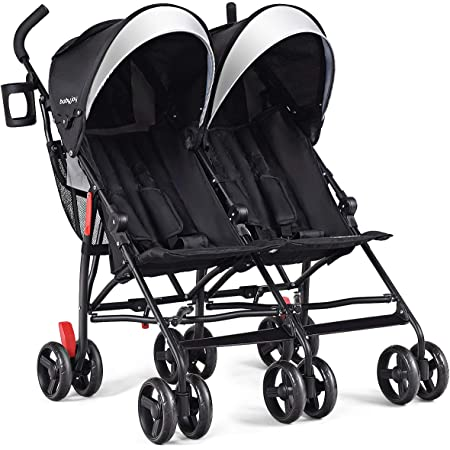 BABY JOY Double Light-Weight Stroller, Travel Foldable Design, Twin Umbrella Stroller with 5-Point Harness, Cup Holder, Sun Canopy for Baby, Toddlers (Black)