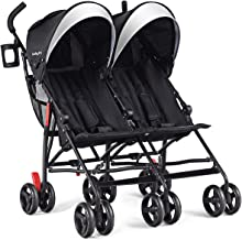 Best BABY JOY Double Light-Weight Stroller, Travel Foldable Design, Twin Umbrella Stroller with 5-Point Harness, Cup Holder, Sun Canopy for Baby, Toddlers (Black) Review