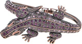 Copper Tone Amethyst Colored Rhinestones Alligator Crocodile Bangle Bracelet