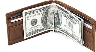 amelleon Men's RFID Blocking Genuine Leather Bifold Wallet with Money Clip, SLIM Front Pocket Wallet, Money Clip Wallet