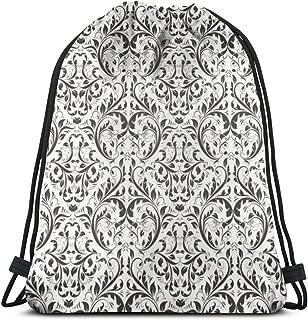 Damask Abstract Victorian Floral Pattern Royal Flowers Black White 3D Print Drawstring Backpack Rucksack Shoulder Bags Gym Bag For Adult 16.9