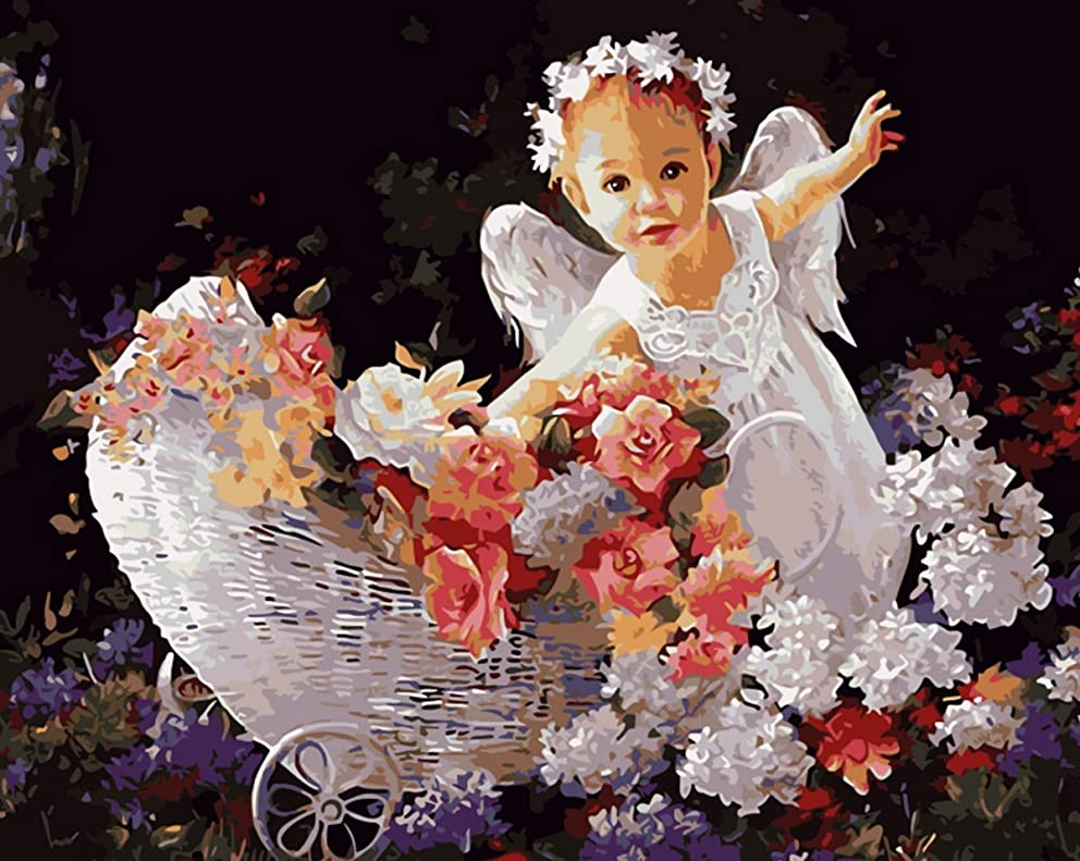 YEESAM ART Paint by Number Kits for Adults Kids - Cute Baby Angel and Bright Flower 16x20 inch Linen Canvas (Without Frame)