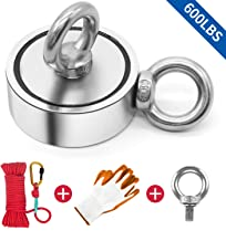 "Fishing Magnet Double Sided, 600lbs Pulling Force Super Strong Round Rare Earth Neodymium Magnet with Eyebolt, Heavy Duty Rope & Non-Slip Gloves for Magnetic Fishing, River, Salvage, 2.36"" Diameter"