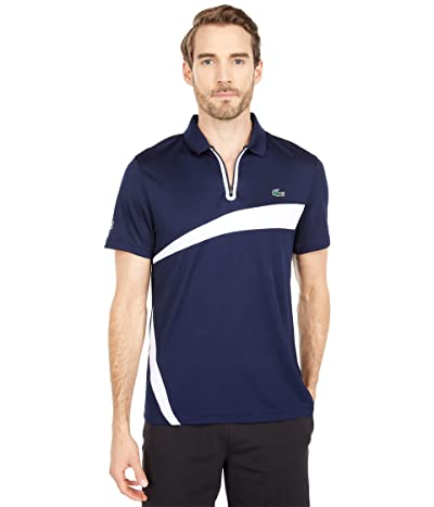 Lacoste Short Sleeve Zipper Placket Color-Block Polo (Navy Blue/White) Men