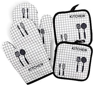 Voarge Zestaw rękawic kuchennych i łapek do garnków, bawełniane rękawice kuchenne do gotowania, pieczenia, grillowania, pr...
