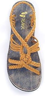 Plaka Flat Summer Sandals for Women Peacock