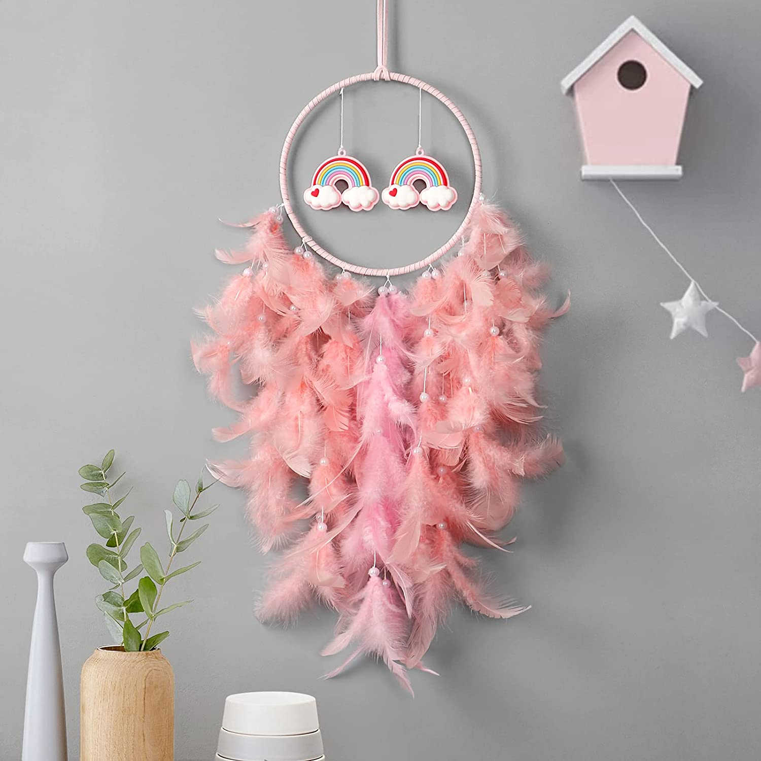 Dremisland Dream Catcher Wall Hanging Drea Max OFFicial shop 78% OFF Pink Feathers Rainbow