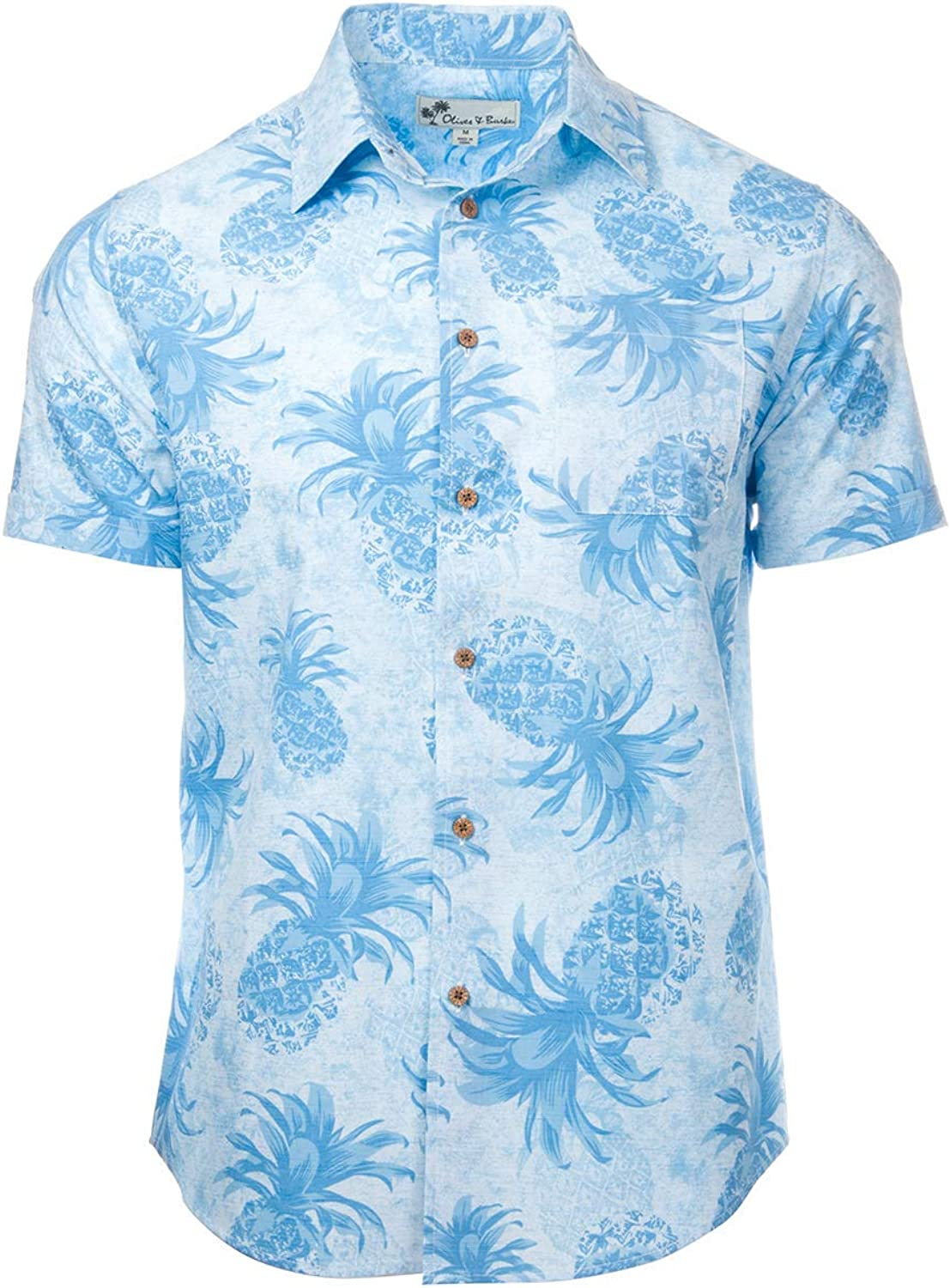 Oliver & Burke The Perfect Tropical Shirts for Mens Short Sleeve Cotton Button Down (Medium, Hawaiian Dream)