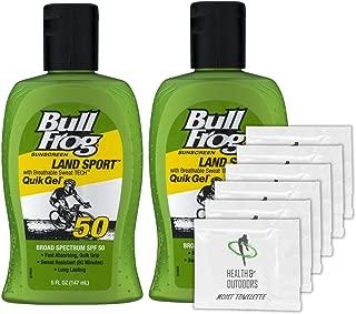 BullFrog Land Sport, Quik Gel Sunscreen SPF 50 (2 Pack) + 6 Exclusive H&O Wipes