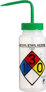 Bel-Art Safety-Labeled 4-Color Methyl Ethyl Ketone Wide-Mouth Wash Bottles; 500ml (16oz), Polyethylene w/Green Polypropylene Cap (Pack of 4) (F11716-0012)