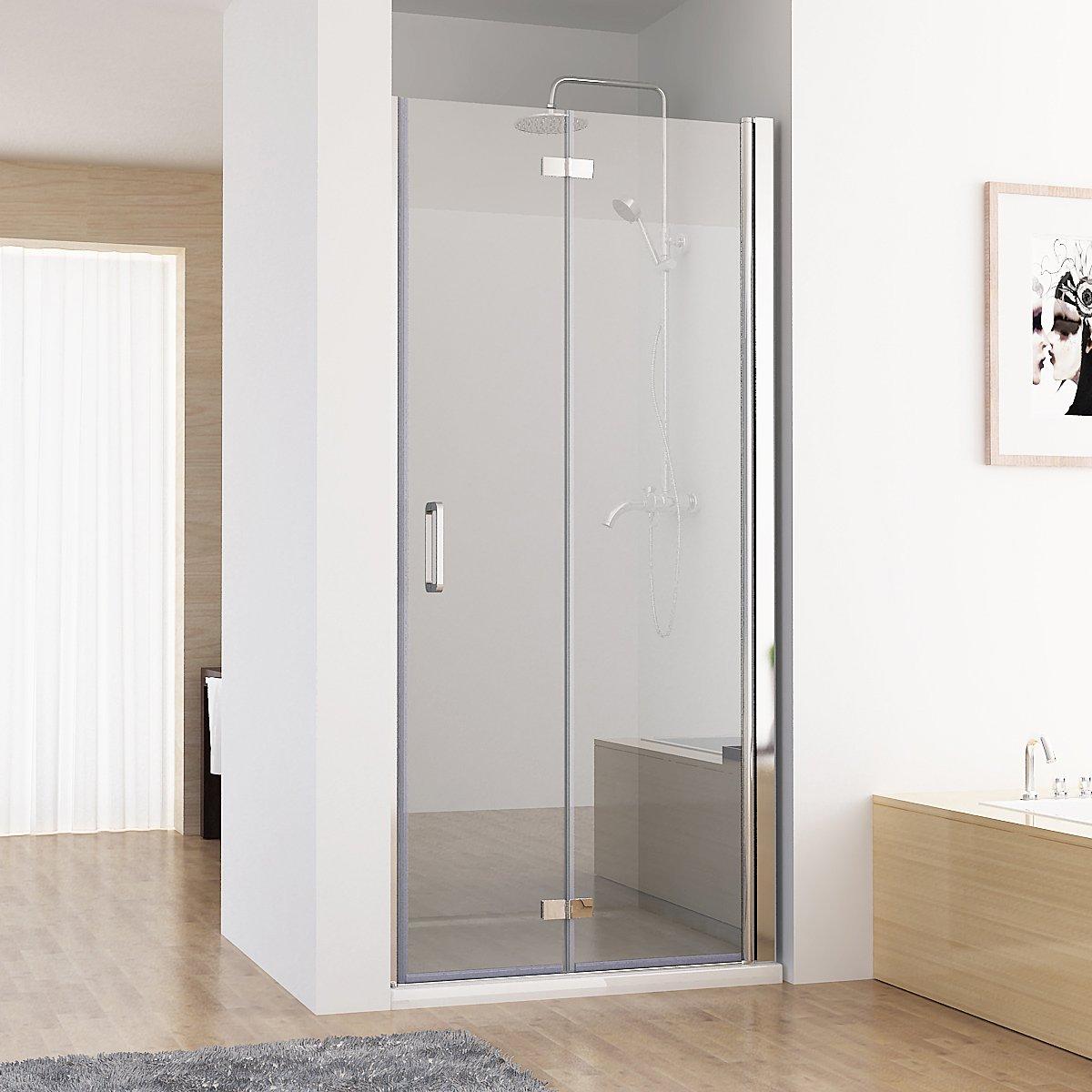 MIQU Puertas para mampara de 180 ° para Puerta oscilante Puerta Plegable Ducha Pared Ducha Nano Cristal 100 x 197 cm: Amazon.es: Hogar