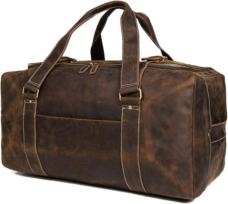 Men's Travel Bag Large Leather Bag Large Capacity Men's Leather Travel Bag for Traveling (color   Brown, Size   L)