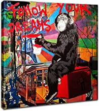 Street Art Graffiti Monkey Follow Your Dreams Prints on Canvas Art Wall Picture Animal Street Artwork for Living Room Decor Ready to Hang 1 Pcs