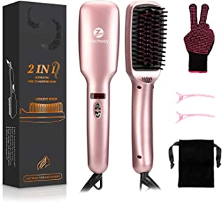 HACHEEY Ionic Hair Straightener Brush, 2-in-1 Lange Hair Straightening Brush Made of MCH Ceramic Technology - 30s Fast Heating with Anti-Scald Feature, Five Heat Settings and Auto-Off Function
