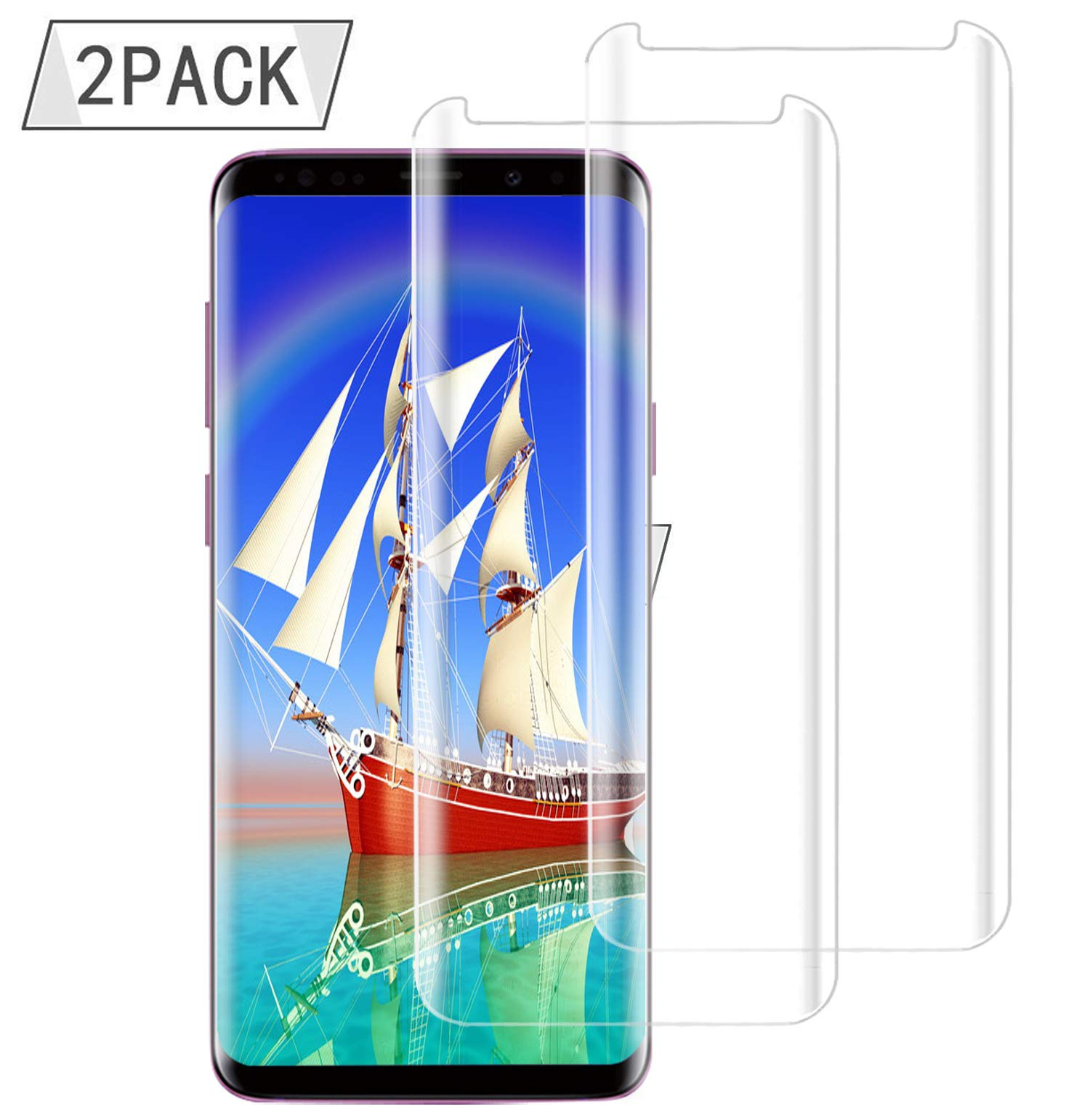 9H Hardness,Anti-Fingerprint,Anti-Scratch,Ultra-Clear,Tempered Glass Screen Protector for Samsung S9 Plus for Samsung Galaxy S9 Plus Screen Protector 2Pack