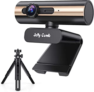HD Webecam with Tripod, Jelly Comb 1080P Computer Webcam, USB Web Camera with Mic for Skype, Facebook, Video Call, Conference, Streaming