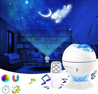LED Proyector de Luz Estrellas Galaxia,Lámpara Proyector Estrellas,360°de Luz Nocturna Giratorio,luz de luna de 10 colores y Control Remoto,para Dormitorio Sala de Juego,Fiesta,Niños Decoración Regalo
