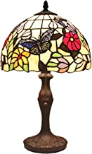 Bieye L41407 Butterfly Tiffany Style Stained Glass Table Lamp Night Light with 12 inch Wide Handmade Lampshade for Coffee ...