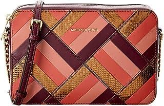 f58e0d3f3077 Michael Kors Womens Marquetry Leather Patchwork Crossbody Handbag Purple  Small