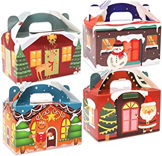 Moretoes 32 Packs 3D Christmas House Cardboard Treat Boxes Gable Boxes Paper Boxes for Xmas Gift, School Classroom Party Favor Supplies, Candy Treat Cardboard Cookie Boxes