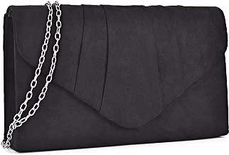 Dasein Womens Evening Bag Velvety Pleated Envelope Clutch Handbag Wedding Party Bridal Purse