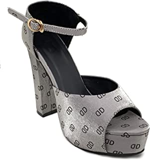 Klaur Melbourne Women 5 Inch Block Heel Casual Sandals Grey 1444