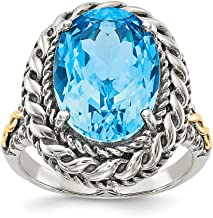 925 Sterling Silver 14k Blue Topaz Band Ring Stone Gemstone Fine Jewelry For Women Gift Set