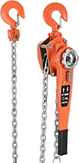 TOTOOL Chain Block 1.5 Ton Chain Block Hoist 5FT Manual Hoist Come Along Lift Puller Lever Block Chain