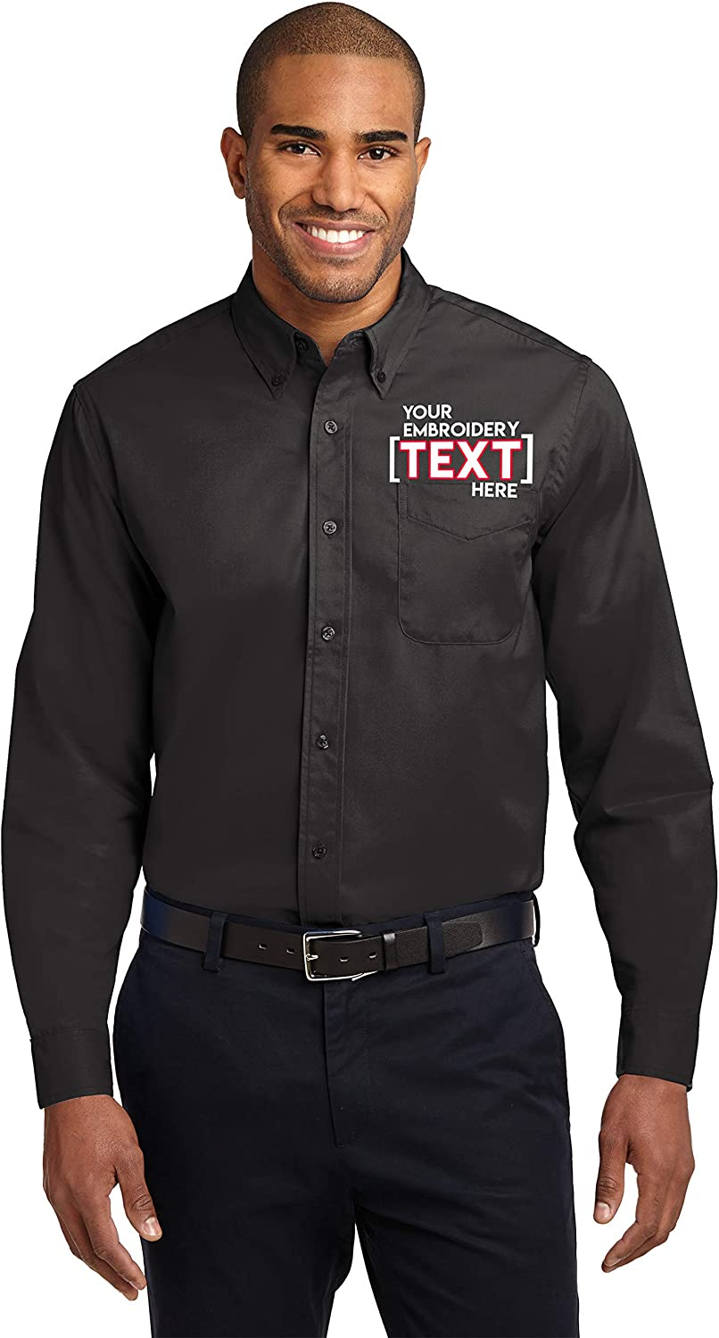 Custom Long Sleeve Button Up Shirts for Men - Add Your Text - Personalized Embroidery Button Down Easy Care Shirts