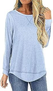 Women's Casual Long Sleeve Split Loose T Shirt High Low Hem Tunic Top Blouse