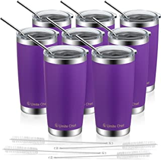 8 Pack 20oz Insulated Tumblers with Lid & Gift Box | Stainless Steel Coffee Cup by Umite Chef | Double Wall Vacuum Insulated Travel Coffee Mug with Splash Proof slid lid (Purple)