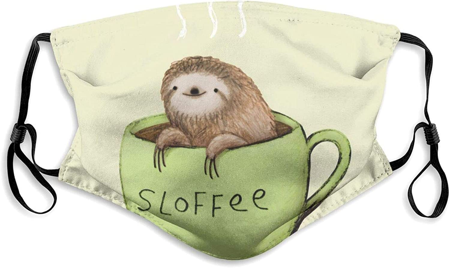 Washable Sloth Face Masks with Filter, Adjustable and Reusable Balaclavas for Men and Women
