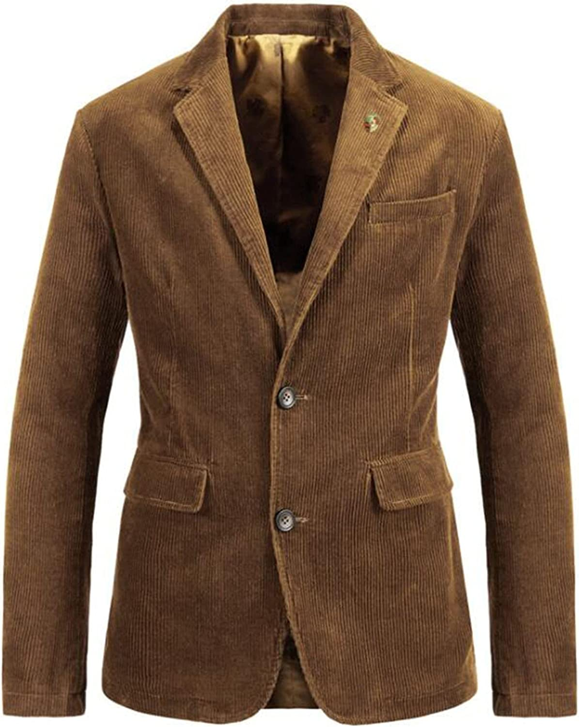 Mens Casual Corduroy Blazer Slim Fit 2 Button Single-breasted Long Sleeve Suits Solid Vintage Jackets Tops, Lightweight Blazer Sports Jacket retro casual work clothes (Color : Coffee, Size : XS)
