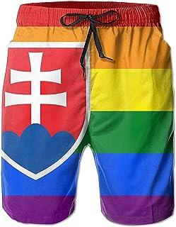 Eslovaquia Arco Iris Bandera Verano Hombres Bañadores de Secado rápido Pantalones Cortos de Playa Pantalones