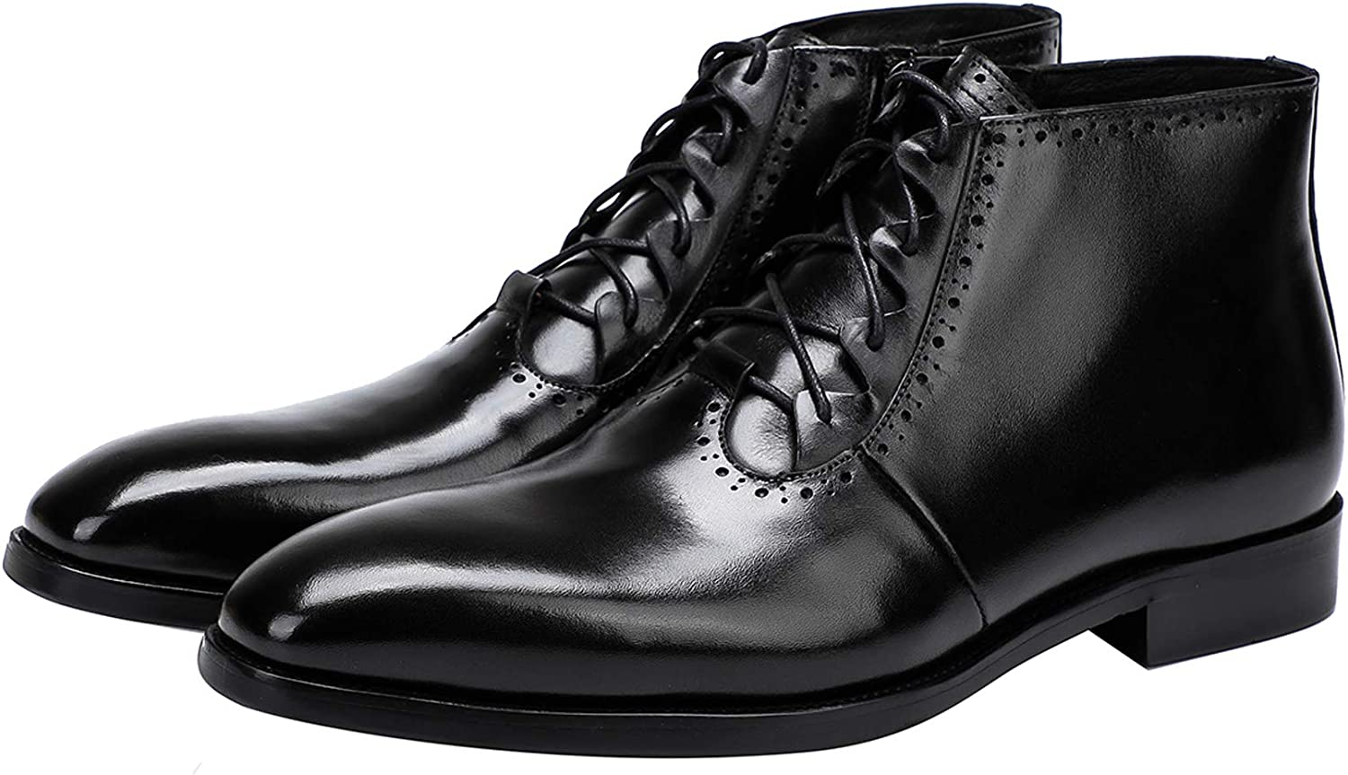 Mens Boot Lace Up Zipper Classical Oxford Leather Wing Tip Ankle Dress Boots Black Brown