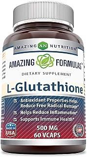 Amazing Formulas Reduced L-Glutathione - 500 Mg, 60 Veggie Capsules - Antioxidant Properties Helps Reduce Free Radical Dam...