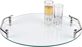 Badash Classic Oval Glass Serving Tray with Handles L16 x W12 (T752)